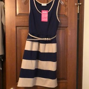 Navy and tan stripe knit dress